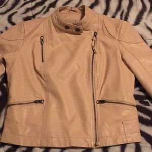 SOFT PINK FAUX LEATHER JACKET
